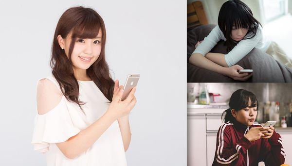 スマートフォンを持つスマホ女子の人気の真素材