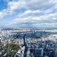 どこまでも続く空と街並み(あべのハルカスからの眺望)の写真