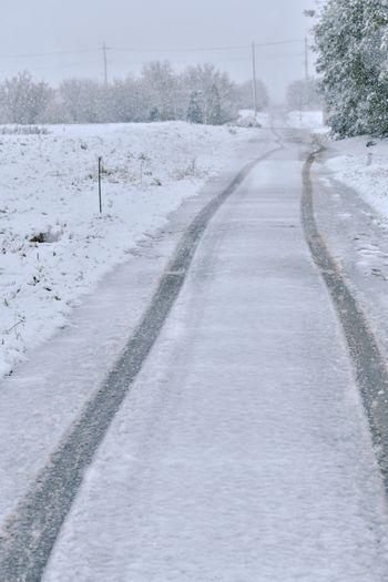 人のいない雪道と車の痕の写真