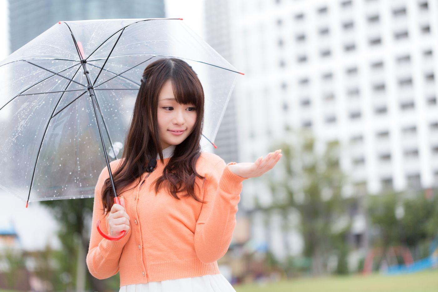 雨を伝えるお天気お姉さんの写真