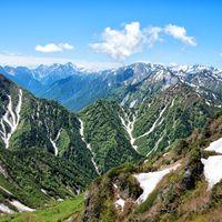 針ノ木峠から見える槍ヶ岳(飛騨山脈)の写真