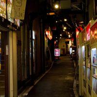 飲み屋の路地裏(夜間)の写真