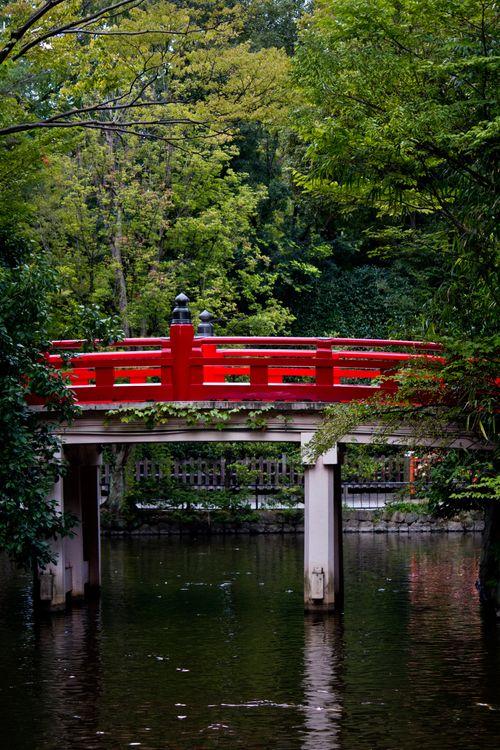 池に架かる紅い橋の写真