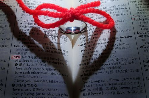 運命の赤い糸が結ぶ指輪のハートの影の写真