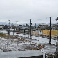 雨降る街の風景の写真