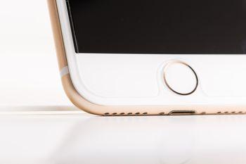 アンテナラインの帯と物理ボタン(ホームボタン)の写真