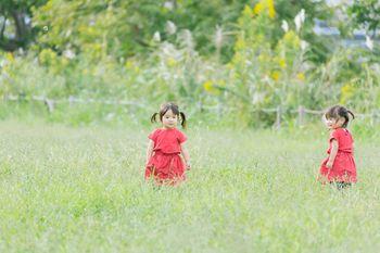 広い空き地と双子の女の子の写真