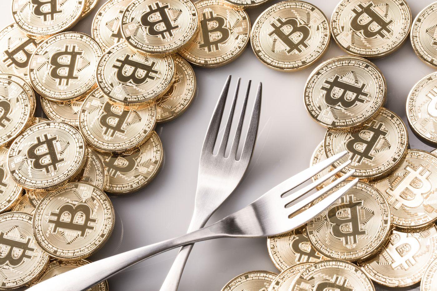 ハードフォークとビットコインの写真