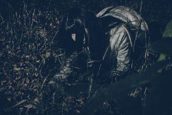 深夜に草むらで落とした小銭を探す女性の写真