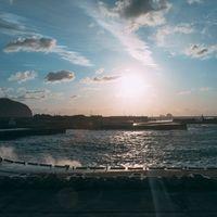 神津島湾の波が高い日の写真