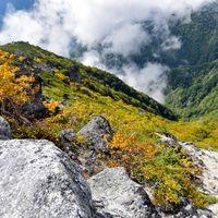 紅葉の鳳凰山の山肌(鳳凰三山)の写真