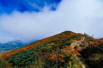 雲の合間に見える栗駒山の紅葉の写真