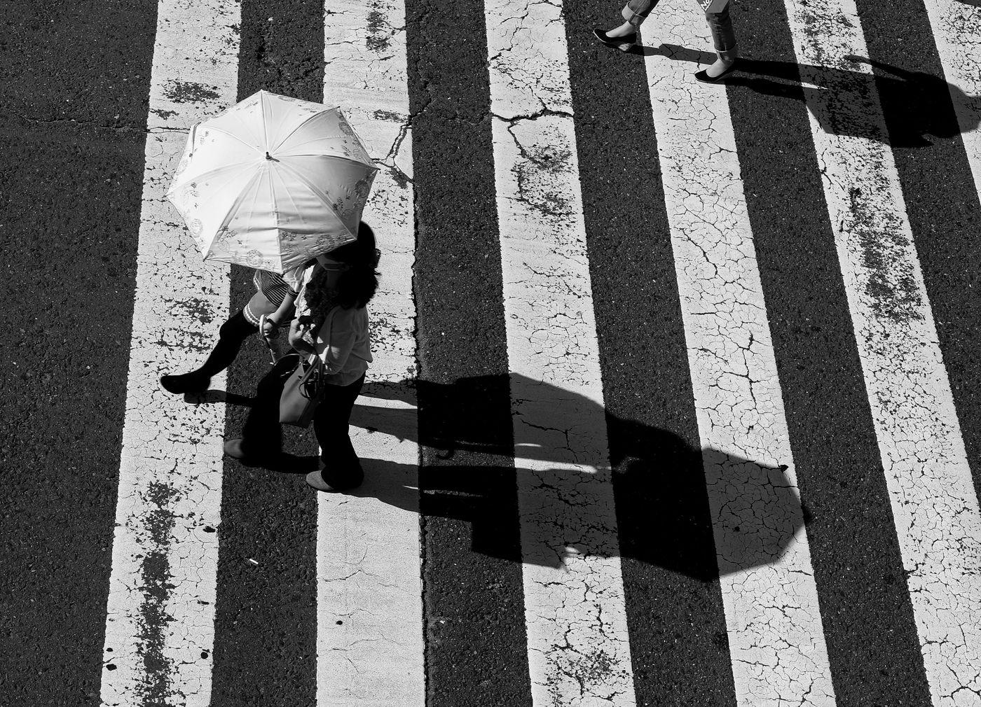 横断歩道を渡る日傘を差したカップルの写真
