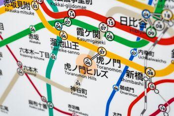 虎ノ門ヒルズ駅が新設され新しくできた路線図の写真