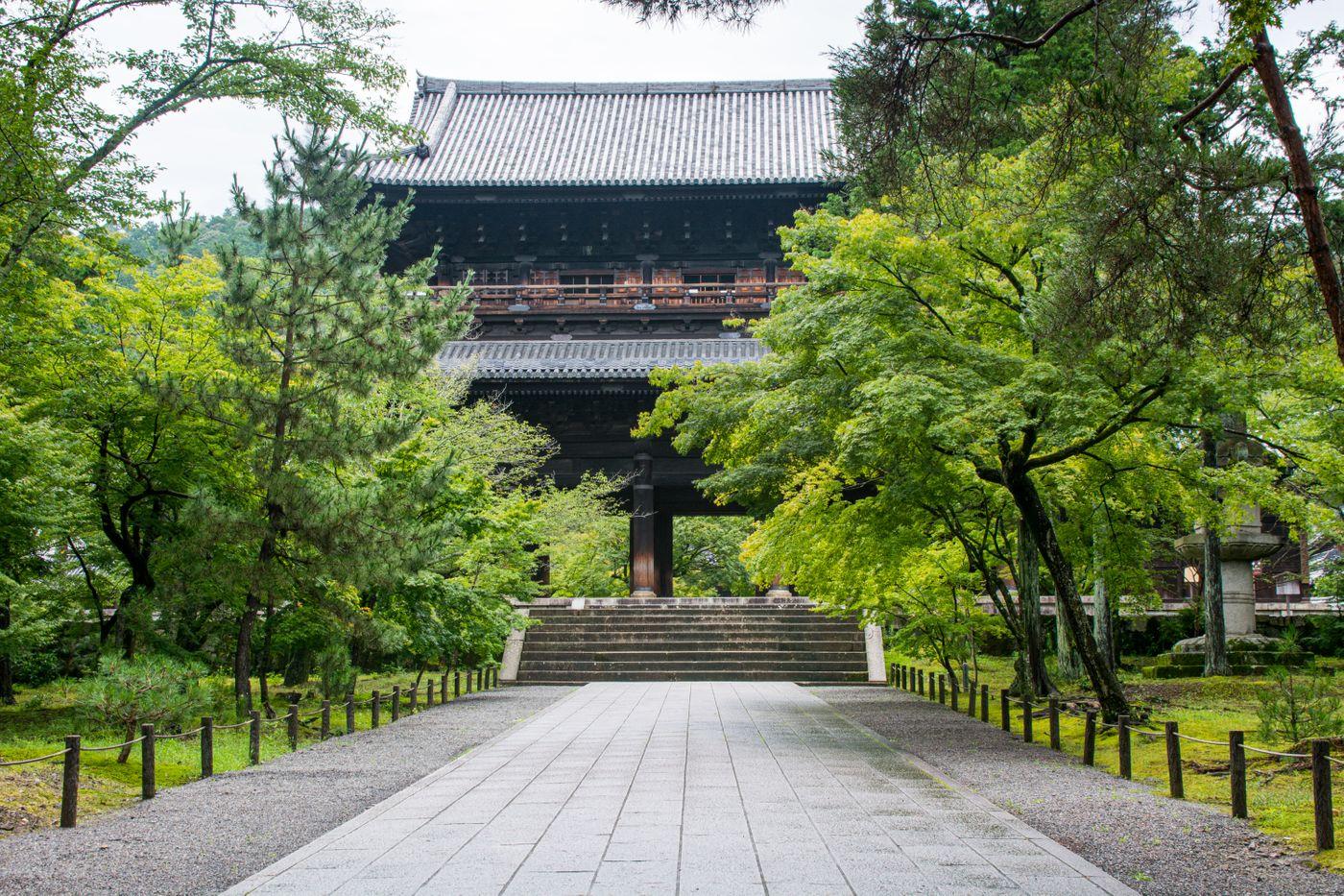 新緑に囲まれる南禅寺三門の写真